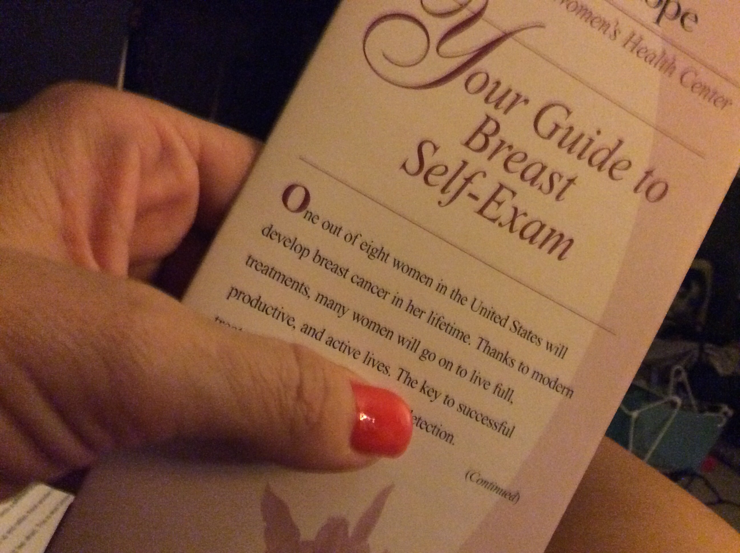 City of Hope offers free pamphlets to those who need instruction in self breast examination.