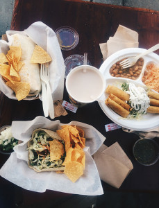 Jasmin Romero for Orange Appeal. Carne Asada taco, Calamari burrito, and Taquitos plate from La Sirena Grill.