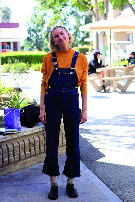 """""""I've been really into color blocking lately. I like matching really bright colors together. So I'll pair red pants with a yellow shirt, or two colors that wouldn't go together at all. I think it's fun."""" Sophie Hamernick"""