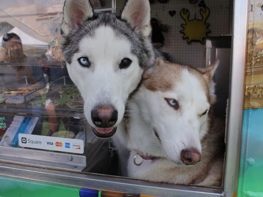 Alice (right) and Fen (left) greet the customers of Alice's Gourmet Truck. (Taya Buehler-Reagan)