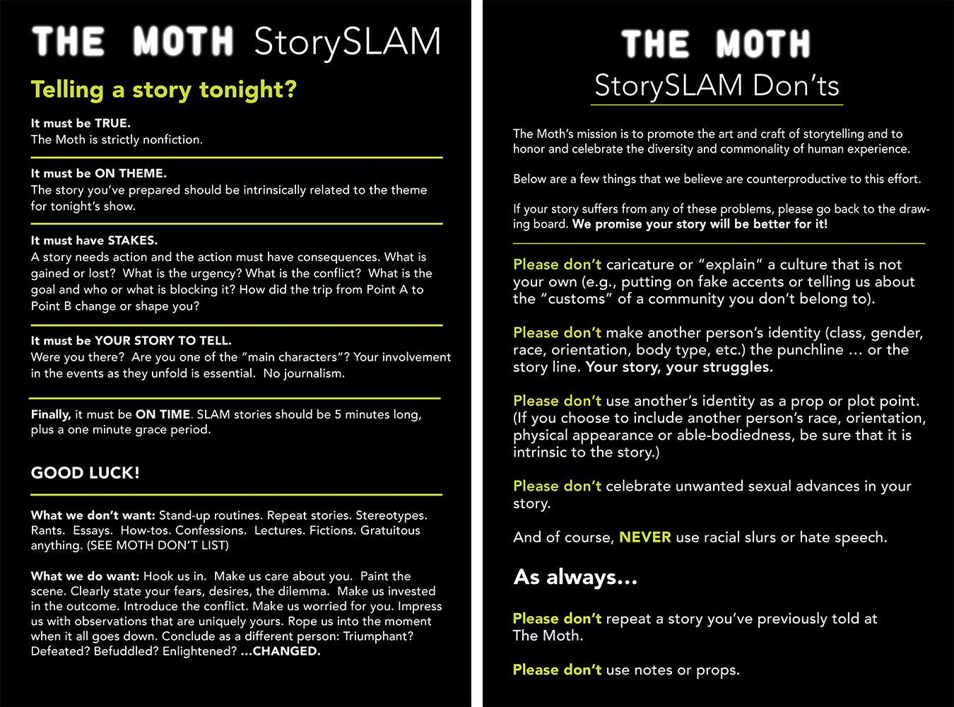 The Moth's storytelling Do's and Don'ts