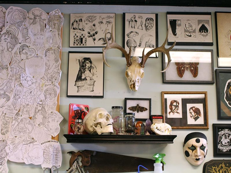 Sanchez's workspace at Black Palm Tattoo. (Ashley Hern)
